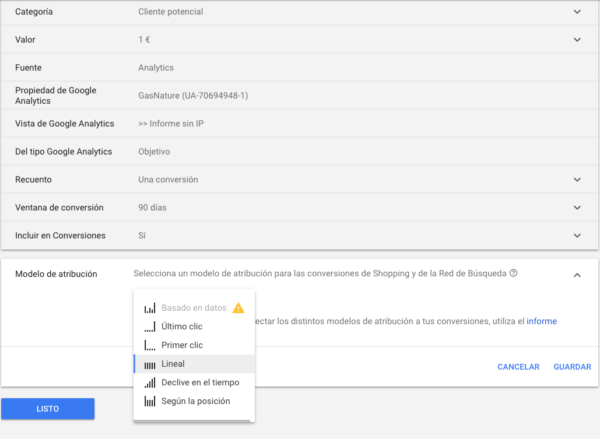 Google Adwords atribucion